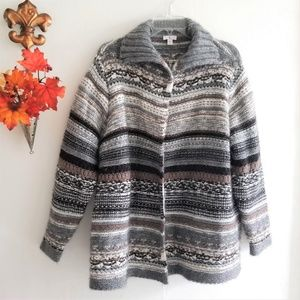 J. Jill Wool Alpaca Blend Open Front Knit Sweater